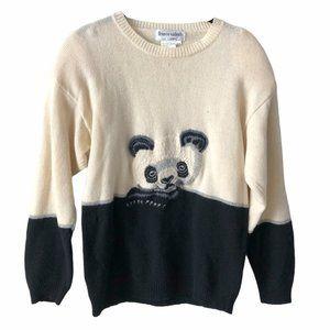 Vintage Franco Valeri Wool Panda Bear Sweater